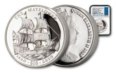 2020 British Virgin Islands $10 2-oz Silver Mayflower 400th Anniversary Ultra High Relief Proof NGC PF70UC First Day of Issue