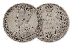 1917–1919 Canada Silver Half Dollar G–VF