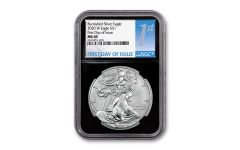 2020-W $1 1-oz Burnished Silver Eagle NGC MS69 First Day of Issue w/Black Core