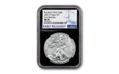 2020-W $1 1-oz Burnished Silver Eagle NGC MS70 Early Releases w/Black Core