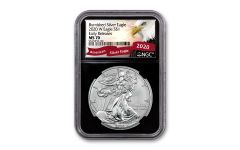 2020-W $1 1-oz Burnished Silver Eagle NGC MS70 Early Releases w/Black Core & Eagle Label