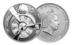 2020 Cook Islands $10 2-oz Silver Airplane Propeller Ultra High Relief Black Proof