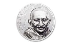 22020 Mongolia 1-oz Silver Gandhi High Relief Colorized Proof