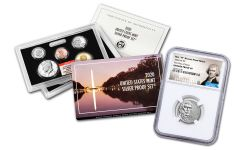 2020-W Reverse Proof Jefferson Nickel NGC PF69 First Day of Issue w/2020-S U.S. Silver Proof Set NGC Gem Proof First Day of Issue