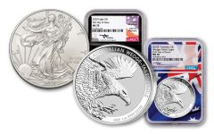 2020 US/Australia 1-oz Silver Eagle/Wedge-Tailed Eagle 2-pc Set NGC MS70 First Day of Issue w/Mercanti Signature