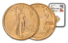 1995 $5 1/10-oz Gold Eagle NGC MS70 w/Mercanti Signature