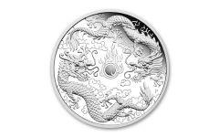 2020 Australia $2 2-oz Silver Double Dragon Proof