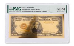 1928 $10,000 24KT GOLD CERTIFICATE COMMEM PMG GEM