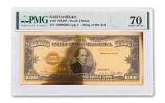1928 $10,000 24KT GOLD CERTIFICATE COMMEM PMG 70