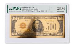1928 $500 24KT GOLD CERTIFICATE COMMEM PMG GEM