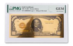 1928 $1,000 24KT GOLD CERTIFICATE COMMEM PMG GEM