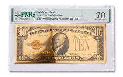 24kt Gold Foil $10 Gold Certificate Commemorative PMG70