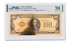 1928 $100 24KT GOLD CERTIFICATE COMMEM PMG 70