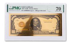 1928 $1,000 24KT GOLD CERTIFICATE COMMEM PMG 70