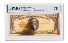 1928 $5,000 24KT GOLD CERTIFICATE COMMEM PMG 70