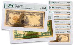 8PC 1928 $10-$10,000 24KT GLD CERT COM SET PMG GEM