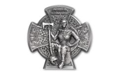 2020 Isle of Man £5 3-oz Silver Boudica Ultra High Relief Cross Shaped Antiqued BU