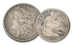 1875–1878-S Seated Liberty Half Dollar & Morgan Silver Dollar 2-pc Set VG–VF