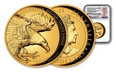 2020 Australia $200 2-oz Gold Wedge Tailed Eagle High Relief Proof NGC PF70UC First Day of Issue w/Mercanti Signature
