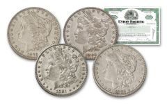 1879–1882-O Morgan Silver Dollar 4-pc Set XF w/Union Pacific Stock