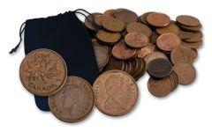 1890–2012 Bag of 100 Canadian Cents VG–AU