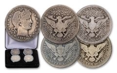 1892–1916 Barber Silver Quarter 4-pc Mint Mark Set