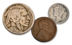 1926-S Low Mintage 3-Coin Set G–VG