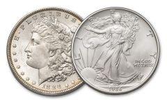 1886-P Morgan Silver Dollar & 1986 Silver Eagle 2-pc Set BU