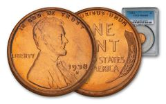 1938-S One Cent Lincoln PCGS MS66 Red