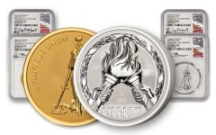 2020 Flames of Freedom Ultra High Relief Reverse Proof 2-pc Set NGC PF70UC First Day of Issue Signature Edition