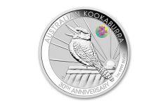 2020 Australia $1 1-oz Silver Kookaburra Brisbane Expo ANDA w/Cooktown Orchid Privy Mark BU