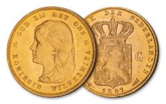 1897 Netherlands 10 Guilder Gold Queen Wilhelmina Long Hair BU