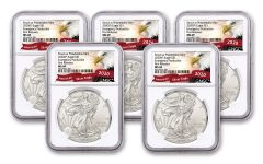 2020(P) $1 1-oz Silver Eagle Struck At Philadelphia Emergency Production 5-Pack NGC MS69 First Releases w/Eagle Label