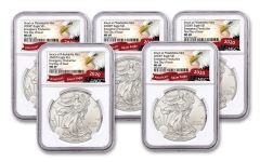 2020(P) $1 1-oz Silver Eagle Struck At Philadelphia Emergency Production 5-Pack NGC MS69 First Day of Issue w/Eagle Label