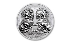 2020 Australia $1 1-oz Silver Double Pixiu Forbidden City Imperial Lion BU