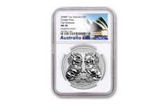 2020 Australia $1 1-oz Silver Double Pixiu Forbidden City Imperial Lion NGC MS70 First Releases