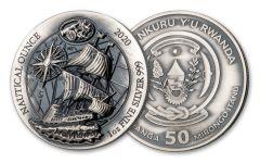2020 Rwanda 50 Francs 1-oz Silver Nautical Mayflower Ultra High Relief Antiqued BU