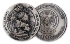 2020 Rwanda 1000 Francs 3-oz Silver Nautical Mayflower Ultra High Relief Antiqued BU