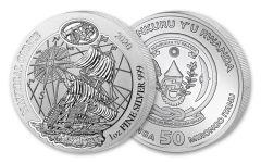 2020 Rwanda 50 Francs 1-oz Silver Nautical Mayflower Gem BU