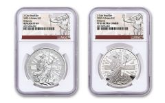 2020 Great Britain £2 1-oz Silver Britannia Proof & Reverse Proof 2-pc Set NGC PF69UC