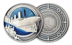 2020 Solomon Islands $10 3-oz Silver Titanic Shipwreck Discovery 35th Anniversary Ultra High Relief Antiqued Coin