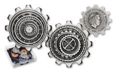 2020 Tuvalu $1 1-oz Silver Industry in Motion Gear-Shaped Antiqued 2-pc Set