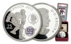 2011 Canada $25 1-oz Silver Gretzky Proof w/1984 Gretzky Card PSA 8