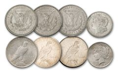 1921–1922-PDS Morgan & Peace Silver Dollar 6-pc Set XF
