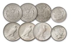 1921–1922-PDS Morgan & Peace Silver Dollar 6-pc Set BU