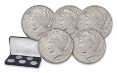 1922–1935-D Peace Silver Dollar 5-pc Set XF