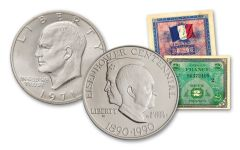 1971 & 1990 $1 Silver Eisenhower 2-pc Set w/Allied Military Note