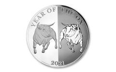 2021 Tokelau $5 1-oz Silver Year of the Ox Mirror Proof