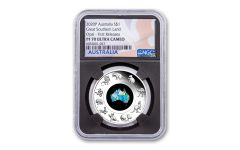 2020 Australia $1 1-oz Silver Great Southern Land Opal Proof NGC PF70UC First Releases w/Black Core & Flag Label