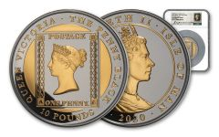 2020 Isle of Man £10 5-oz Silver Penny Black Ultra High Relief Proof w/Gold Gilding NGC PF69UC First Day of Issue w/Maklouf Signature & Custom Label